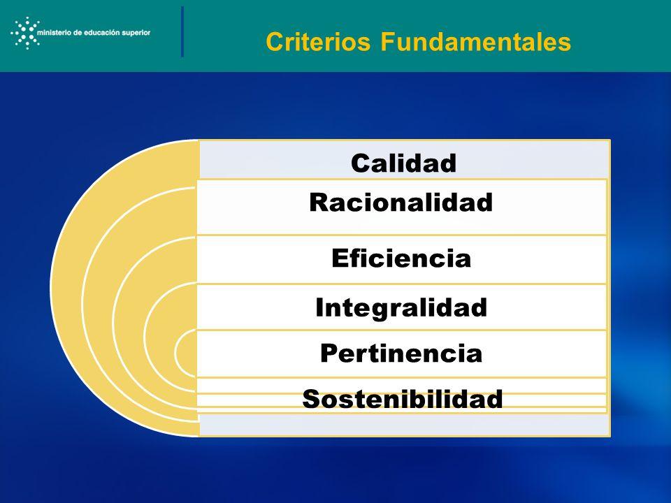 Calidad Racionalidad Eficiencia Integralidad Pertinencia Criterios Fundamentales Sostenibilidad