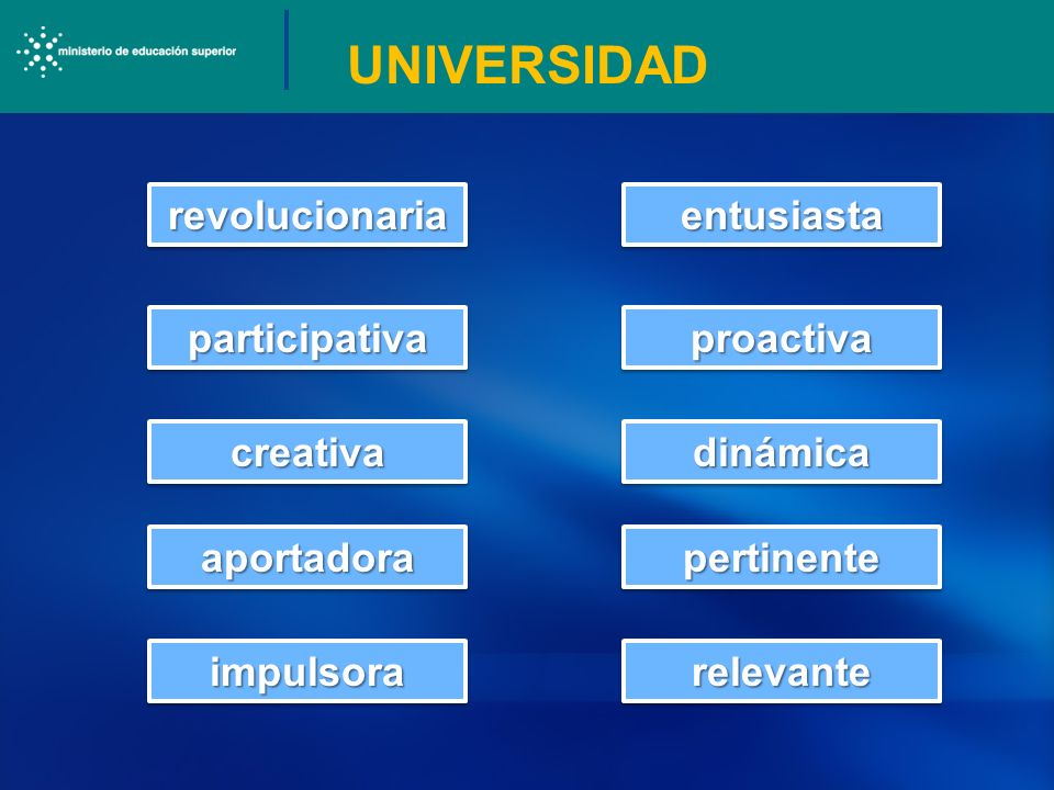 UNIVERSIDAD revolucionariarevolucionaria participativaparticipativa creativacreativa aportadoraaportadora impulsoraimpulsorarelevanterelevante pertine