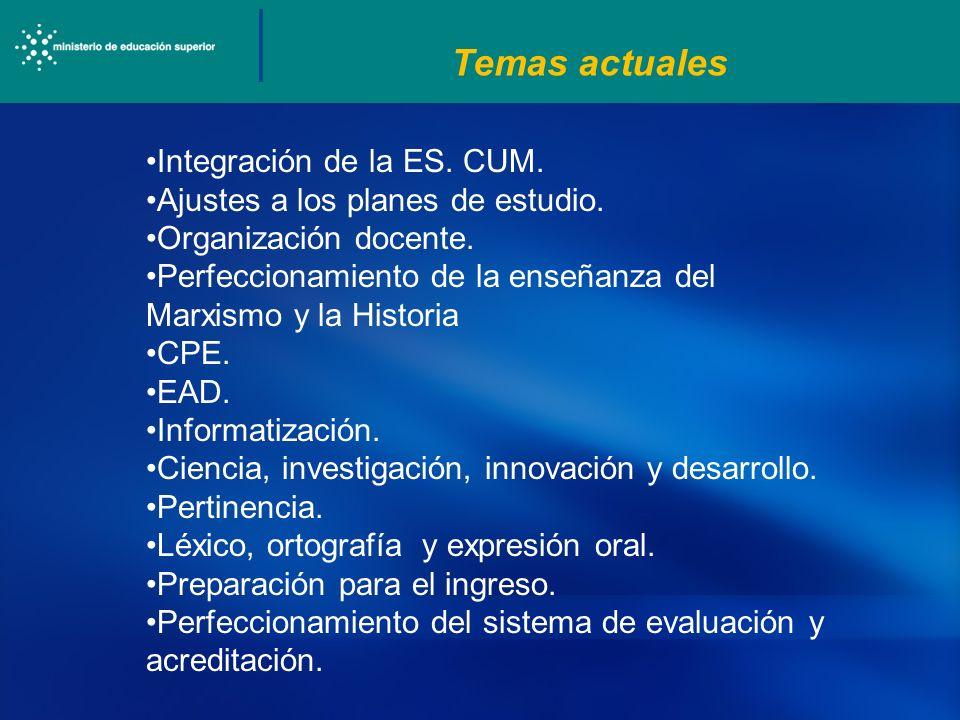 Temas actuales Integración de la ES. CUM. Ajustes a los planes de estudio. Organización docente. Perfeccionamiento de la enseñanza del Marxismo y la H