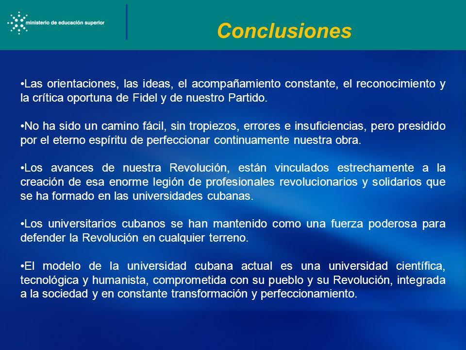 Conclusiones Las orientaciones, las ideas, el acompañamiento constante, el reconocimiento y la crítica oportuna de Fidel y de nuestro Partido. No ha s