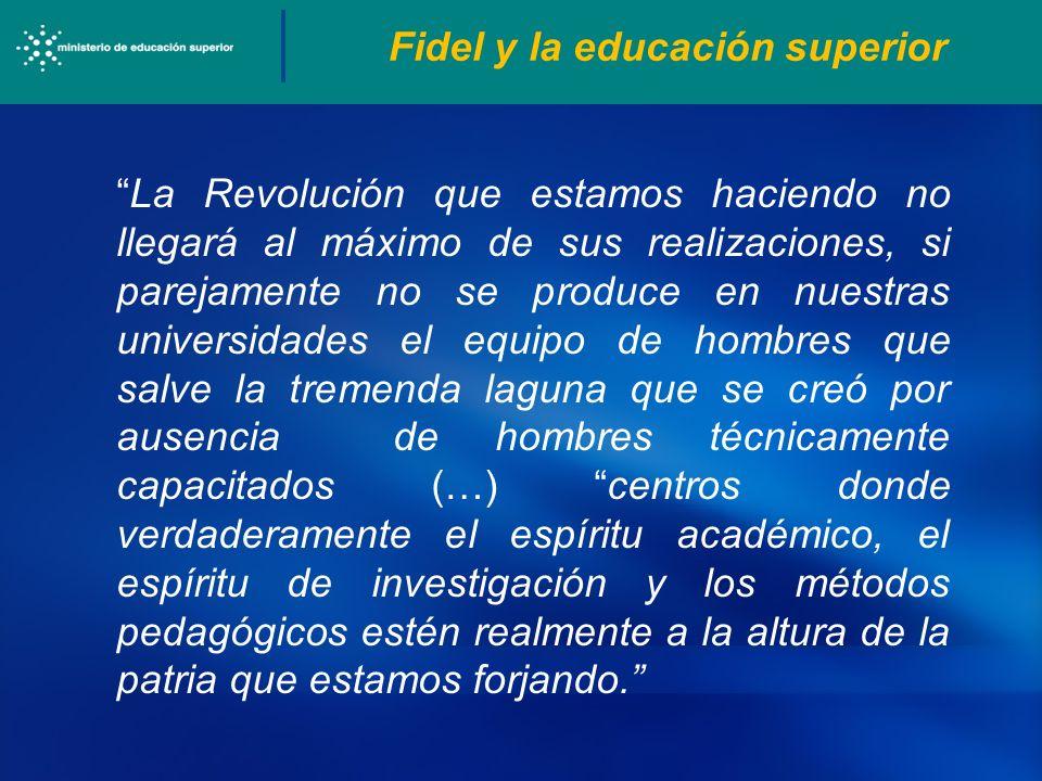 Fidel y la educación superior La Revolución que estamos haciendo no llegará al máximo de sus realizaciones, si parejamente no se produce en nuestras u