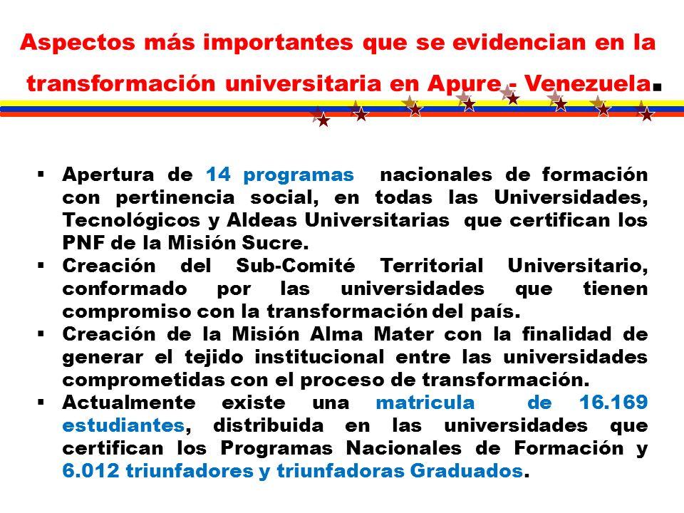 Apertura de 14 programas nacionales de formación con pertinencia social, en todas las Universidades, Tecnológicos y Aldeas Universitarias que certific
