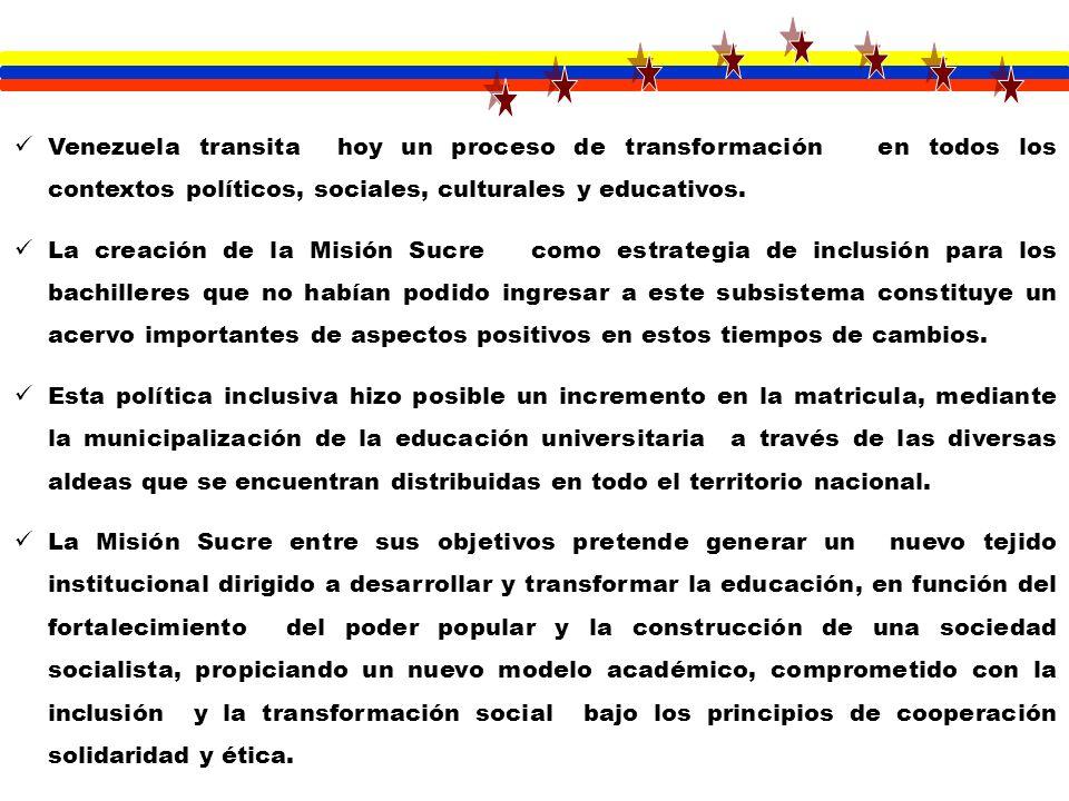 Venezuela transita hoy un proceso de transformación en todos los contextos políticos, sociales, culturales y educativos. La creación de la Misión Sucr