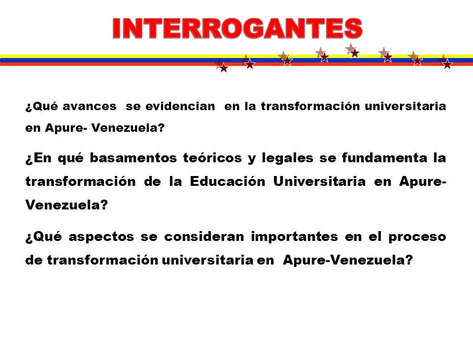 Evidenciar el proceso de transformación universitaria en Apure – Venezuela Objetivos Específicos: -Identificar los avances en la transformación universitaria en Apure- Venezuela.