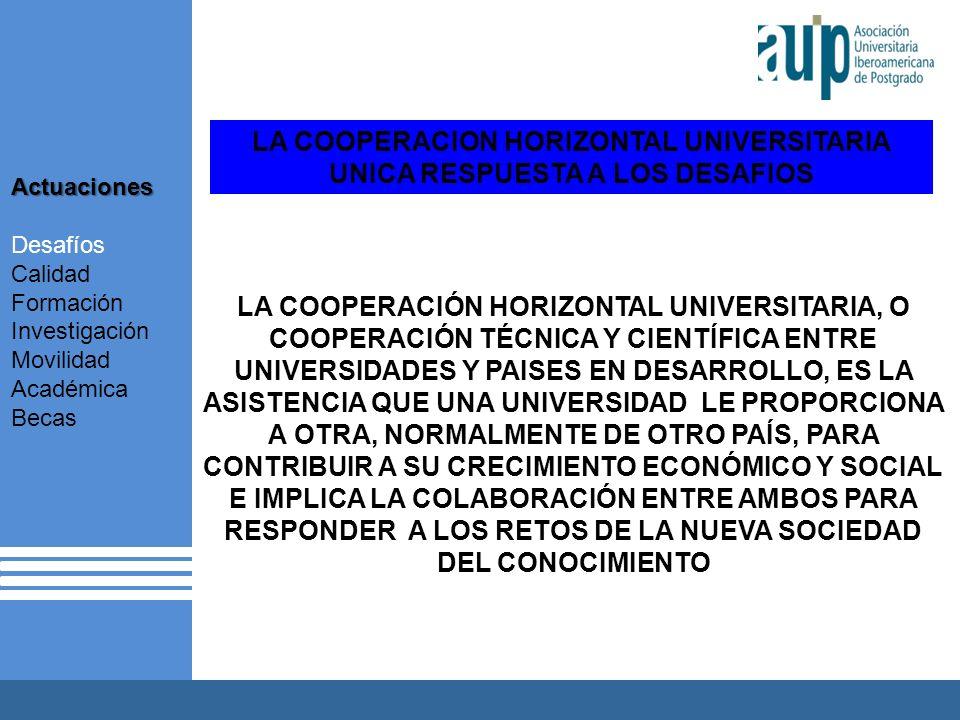 LA COOPERACION HORIZONTAL UNIVERSITARIA UNICA RESPUESTA A LOS DESAFIOS LA COOPERACIÓN HORIZONTAL UNIVERSITARIA, O COOPERACIÓN TÉCNICA Y CIENTÍFICA ENTRE UNIVERSIDADES Y PAISES EN DESARROLLO, ES LA ASISTENCIA QUE UNA UNIVERSIDAD LE PROPORCIONA A OTRA, NORMALMENTE DE OTRO PAÍS, PARA CONTRIBUIR A SU CRECIMIENTO ECONÓMICO Y SOCIAL E IMPLICA LA COLABORACIÓN ENTRE AMBOS PARA RESPONDER A LOS RETOS DE LA NUEVA SOCIEDAD DEL CONOCIMIENTO Actuaciones Desafíos Calidad Formación Investigación Movilidad Académica Becas