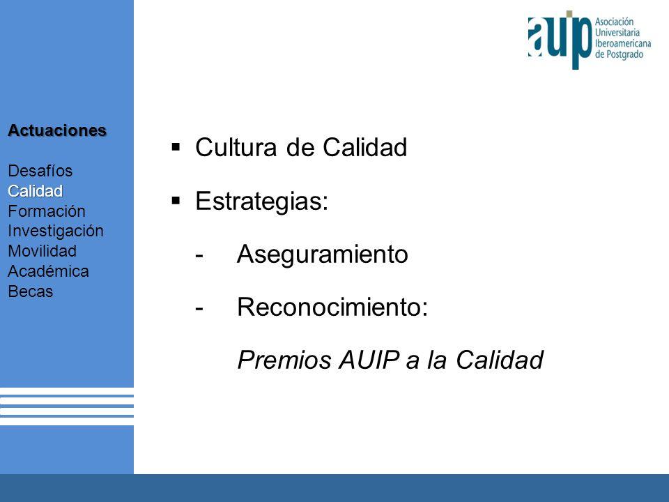 Cultura de Calidad Estrategias: -Aseguramiento -Reconocimiento: Premios AUIP a la Calidad Actuaciones Calidad Desafíos Calidad Formación Investigación Movilidad Académica Becas