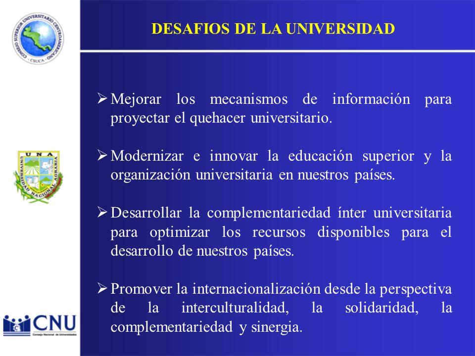 Mejorar los mecanismos de información para proyectar el quehacer universitario.