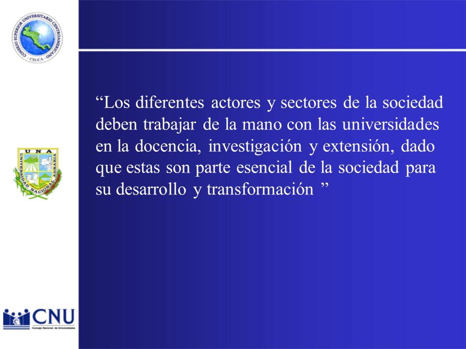Los diferentes actores y sectores de la sociedad deben trabajar de la mano con las universidades en la docencia, investigación y extensión, dado que estas son parte esencial de la sociedad para su desarrollo y transformación