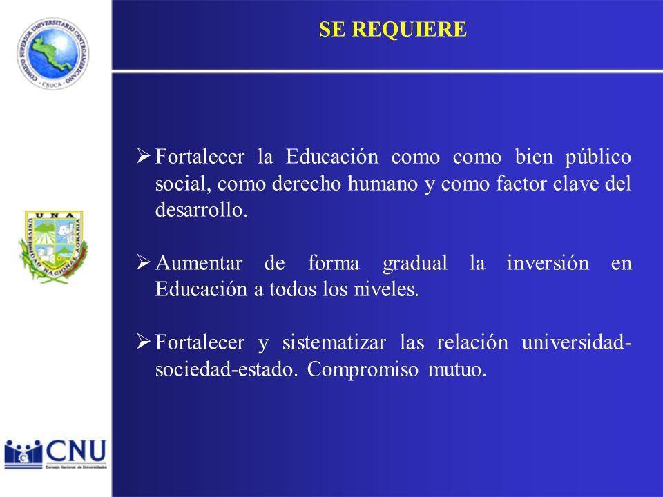SE REQUIERE Fortalecer la Educación como como bien público social, como derecho humano y como factor clave del desarrollo.