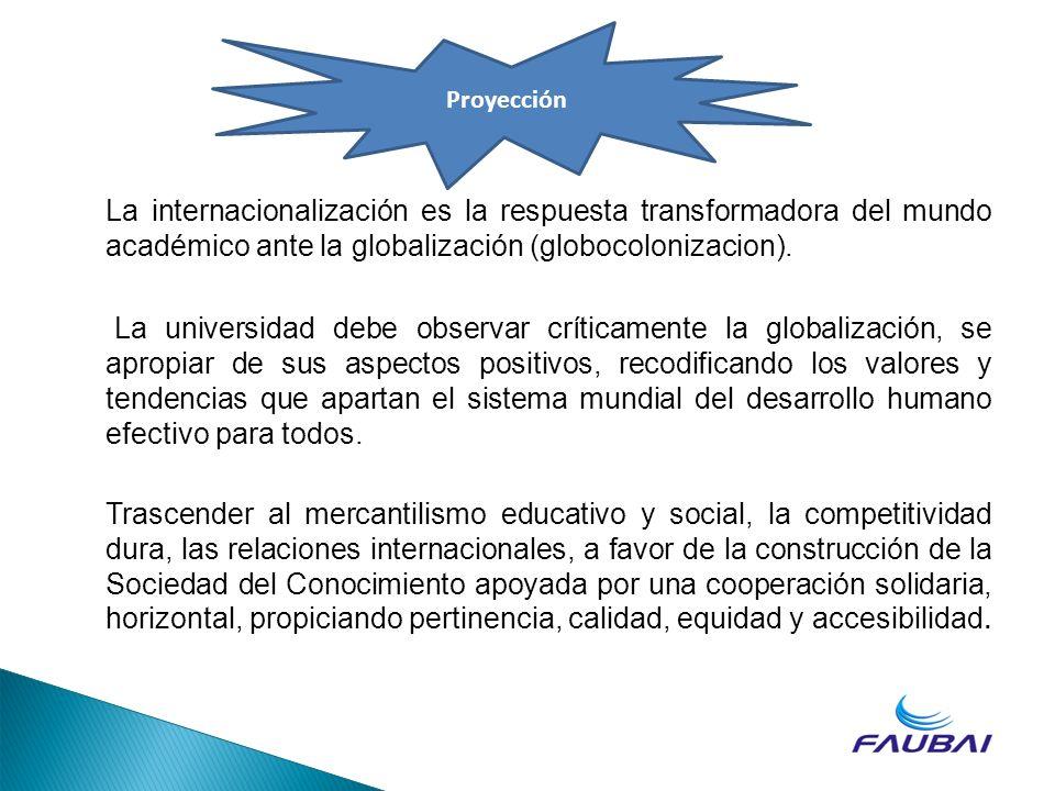 La internacionalización es la respuesta transformadora del mundo académico ante la globalización (globocolonizacion). La universidad debe observar crí