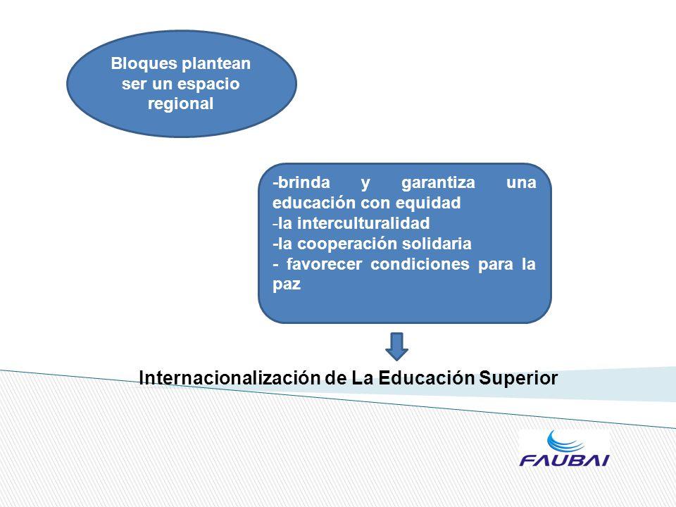 Internacionalización de La Educación Superior Bloques plantean ser un espacio regional -brinda y garantiza una educación con equidad -la intercultural