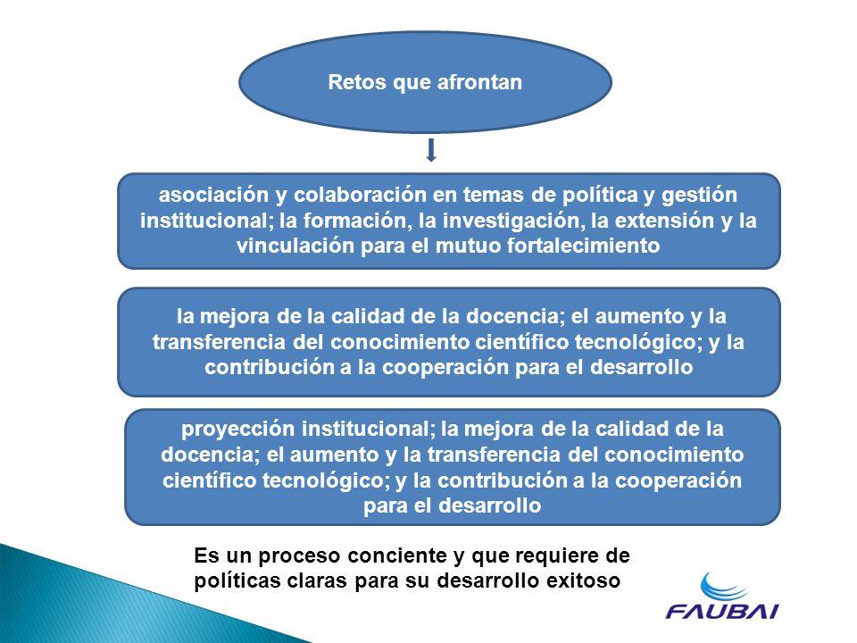 Retos que afrontan asociación y colaboración en temas de política y gestión institucional; la formación, la investigación, la extensión y la vinculaci
