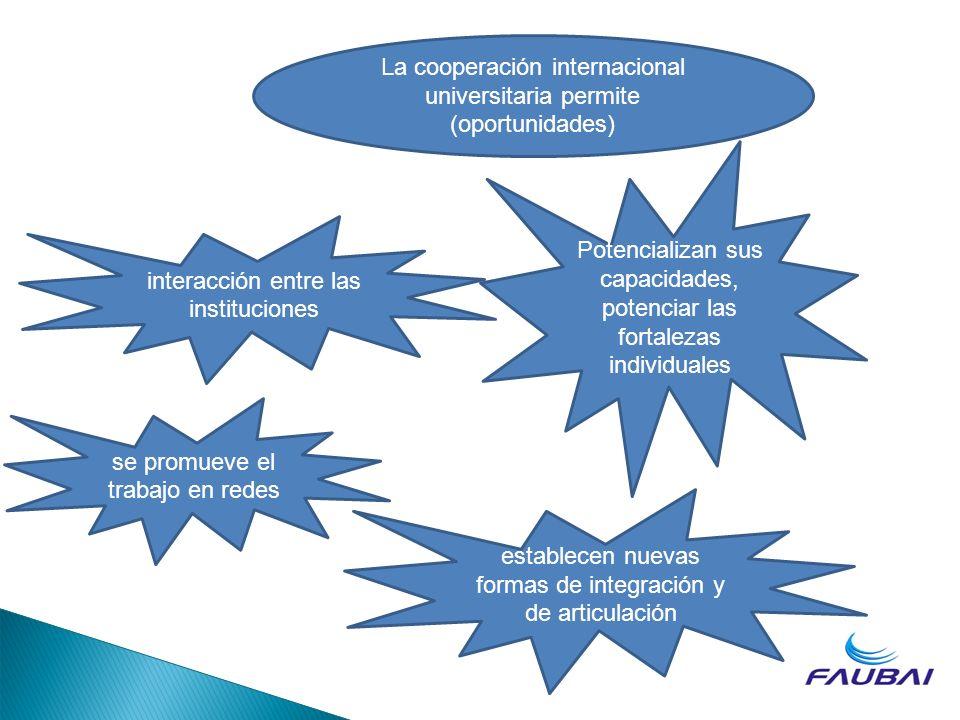 La cooperación internacional universitaria permite (oportunidades) interacción entre las instituciones establecen nuevas formas de integración y de ar