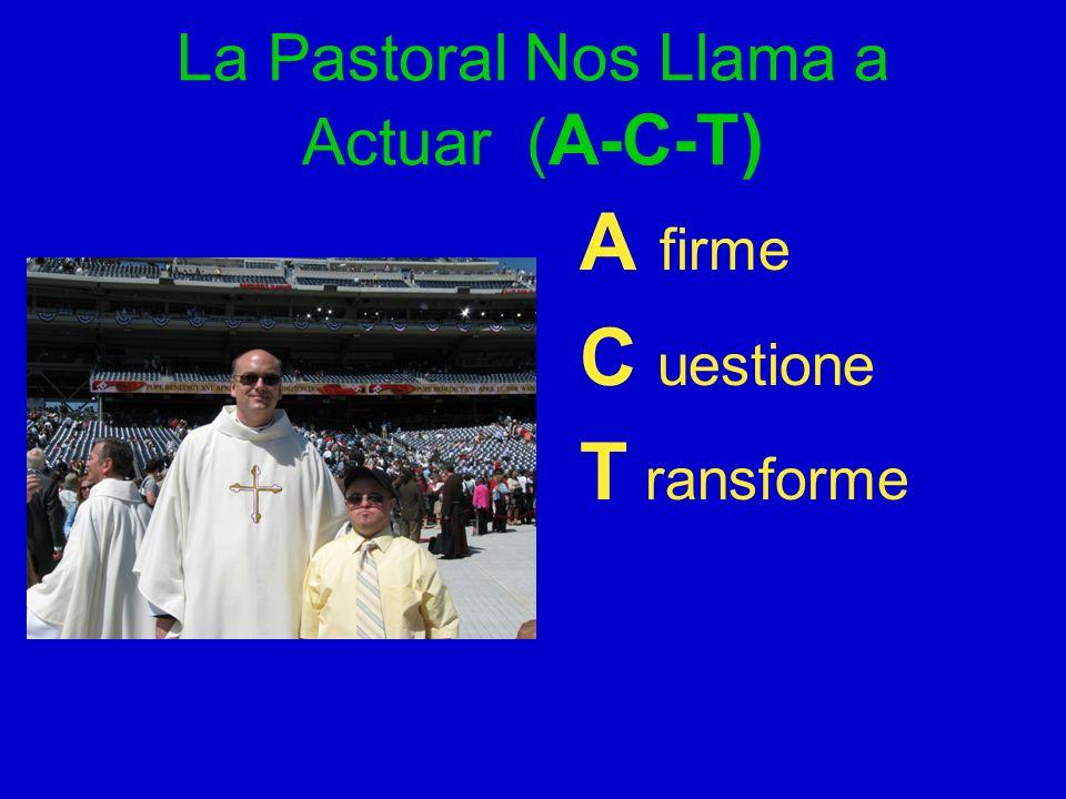 La Pastoral Nos Llama a Actuar ( A-C-T) A firme C uestione T ransforme