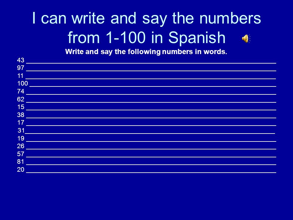 Say and write the months of the year in Spanish 1.