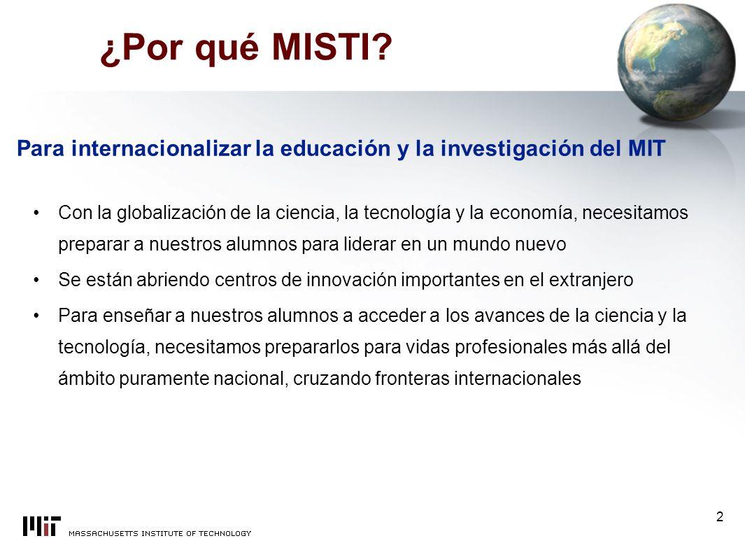 MISTI MIT International Science and Technology Initiatives Aprendizaje Práctico en un Laboratorio Global Para información adicional: http://web.mit.edu/misti/www/