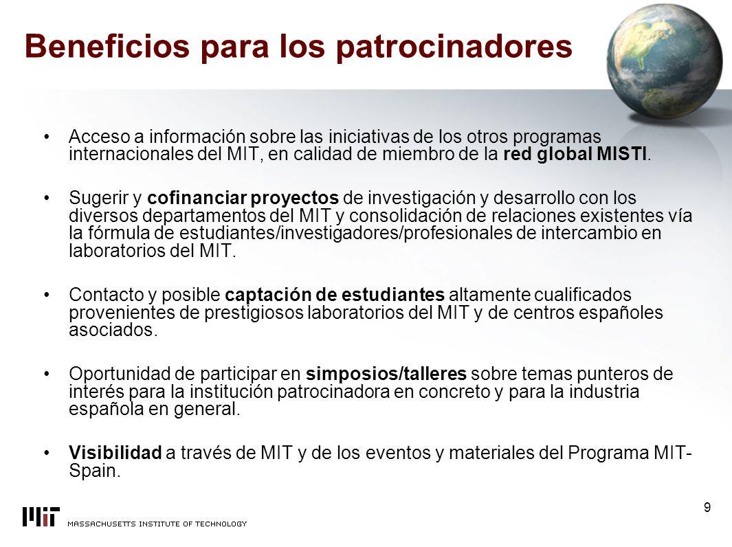 9 Beneficios para los patrocinadores Acceso a información sobre las iniciativas de los otros programas internacionales del MIT, en calidad de miembro de la red global MISTI.