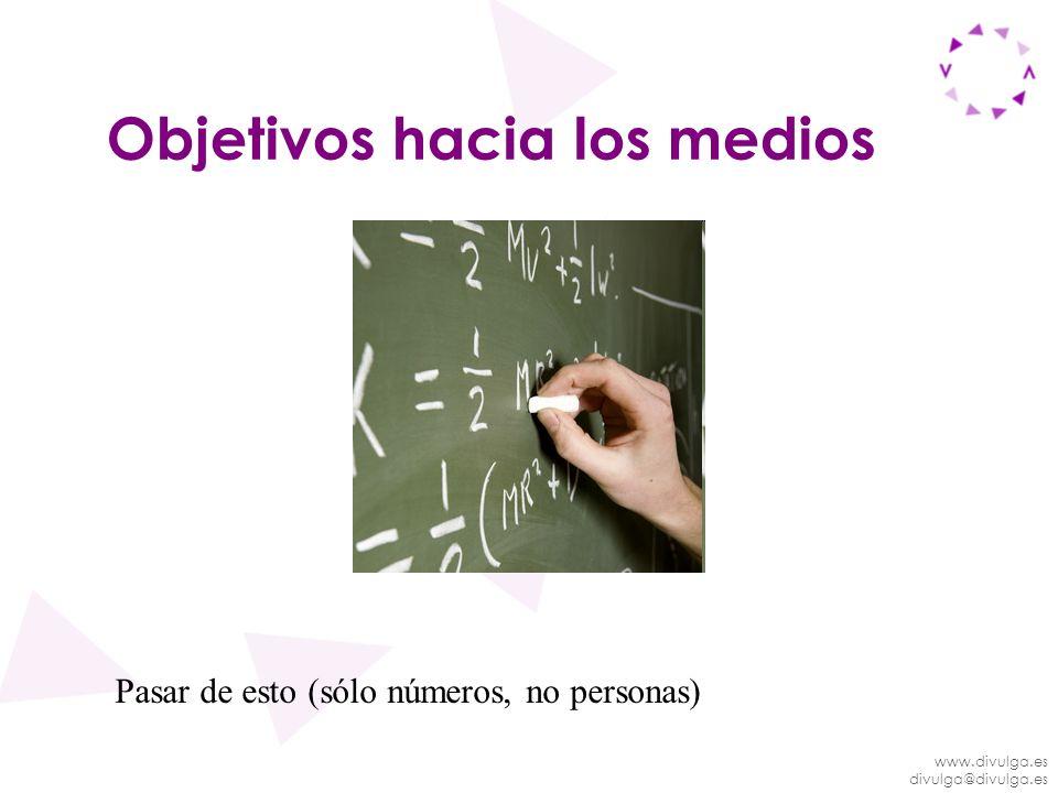 www.divulga.es divulga@divulga.es Objetivos hacia los medios Pasar de esto (sólo números, no personas)