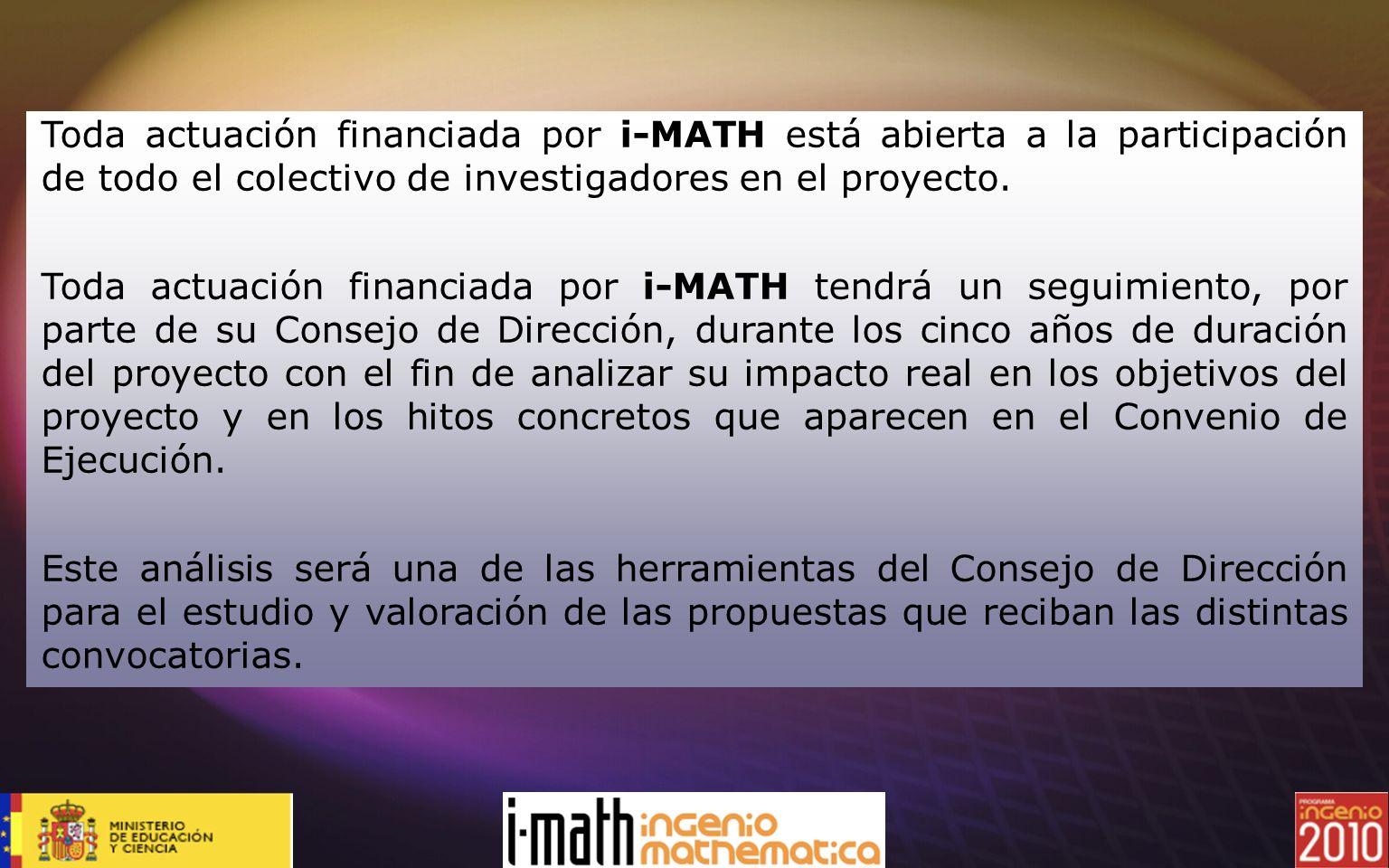 Toda actuación financiada por i-MATH está abierta a la participación de todo el colectivo de investigadores en el proyecto. Toda actuación financiada