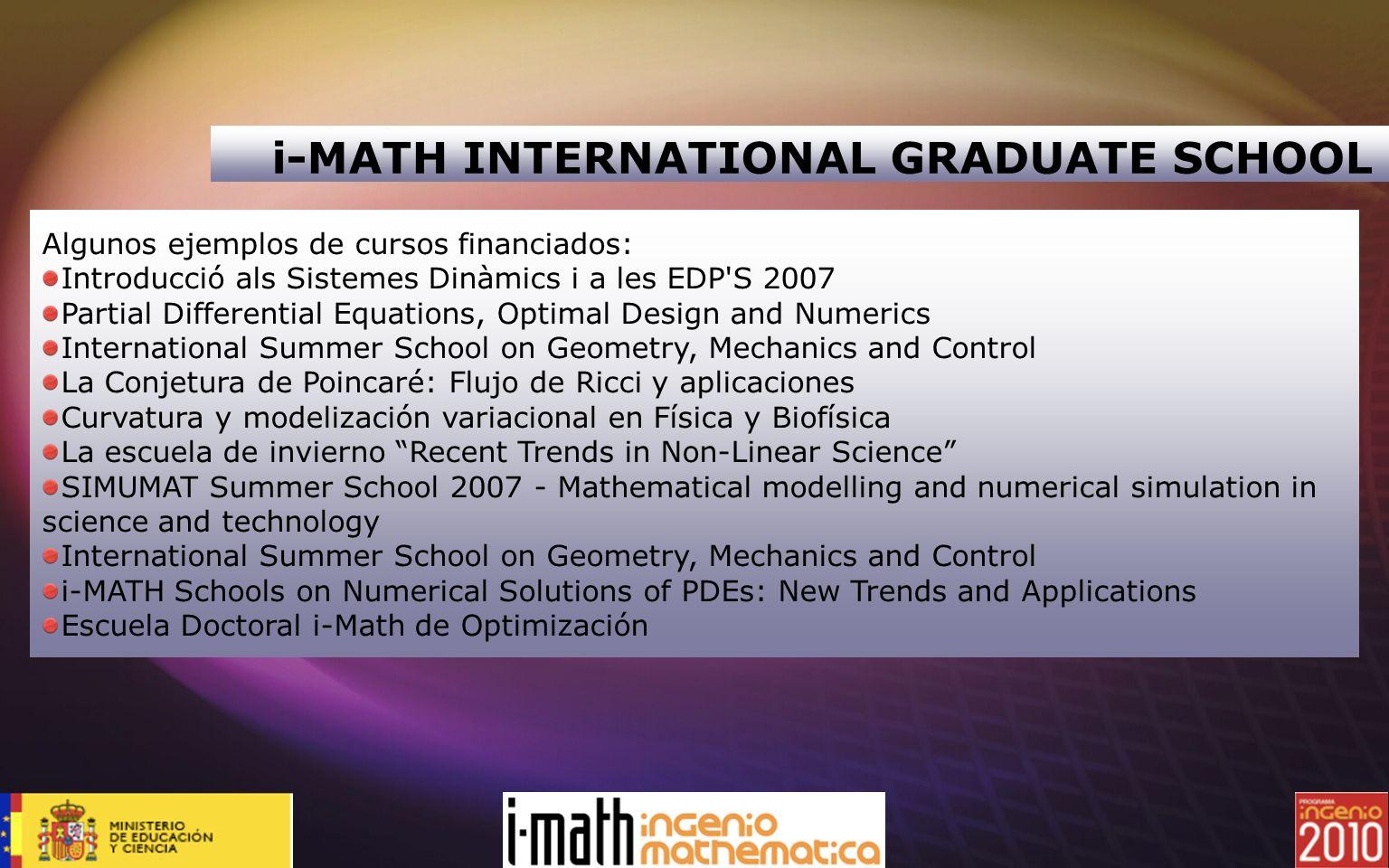 Algunos ejemplos de cursos financiados: Introducció als Sistemes Dinàmics i a les EDP'S 2007 Partial Differential Equations, Optimal Design and Numeri