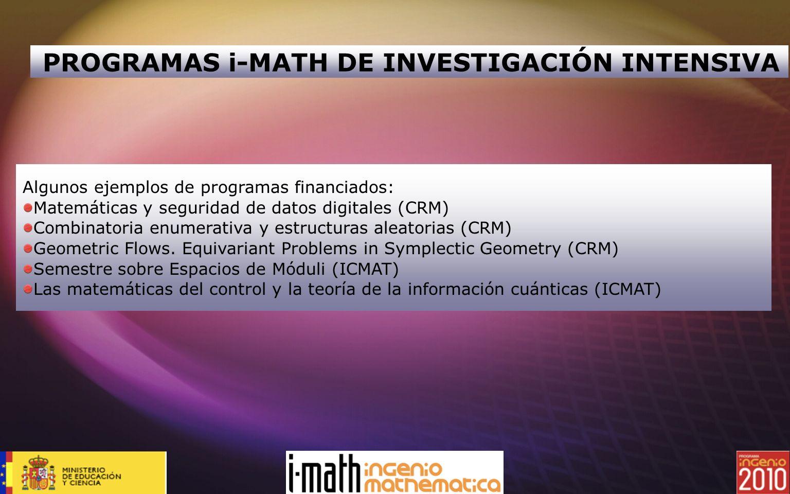 PROGRAMAS i-MATH DE INVESTIGACIÓN INTENSIVA Algunos ejemplos de programas financiados: Matemáticas y seguridad de datos digitales (CRM) Combinatoria e