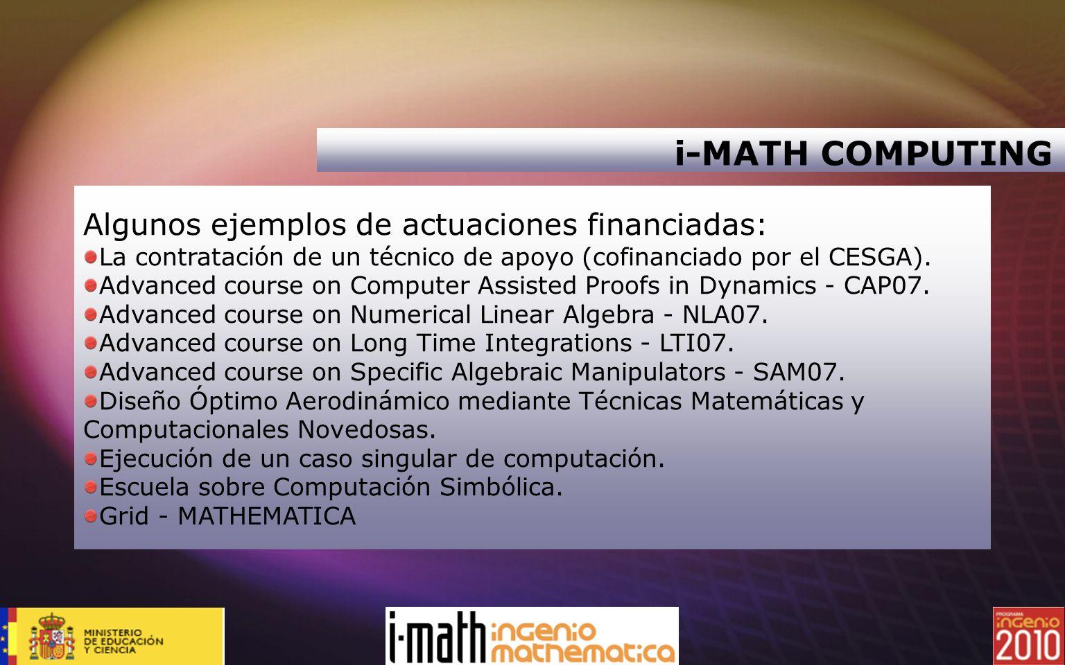 i-MATH COMPUTING Algunos ejemplos de actuaciones financiadas: La contratación de un técnico de apoyo (cofinanciado por el CESGA). Advanced course on C
