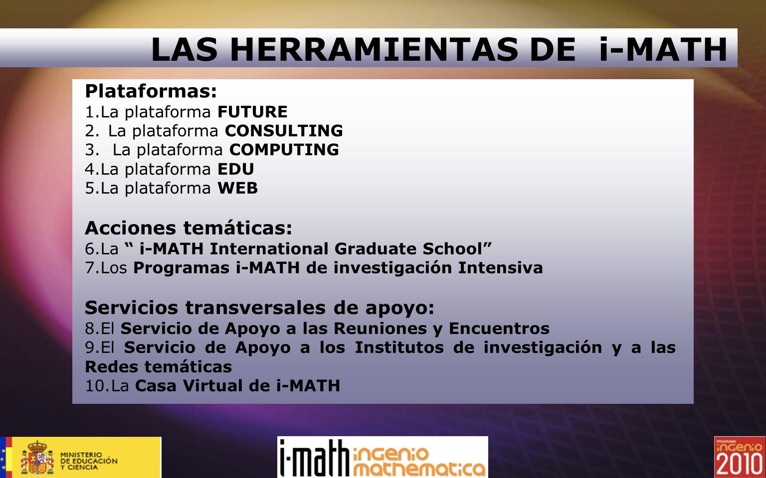 Plataformas: 1.La plataforma FUTURE 2.La plataforma CONSULTING 3.La plataforma COMPUTING 4.La plataforma EDU 5.La plataforma WEB Acciones temáticas: 6