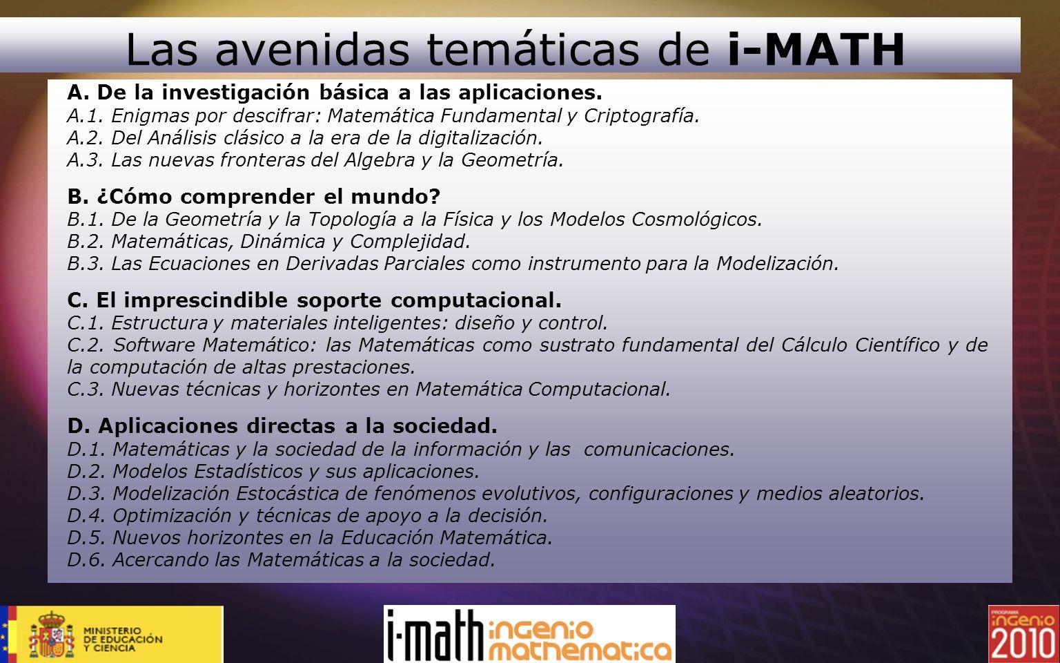 A. De la investigación básica a las aplicaciones. A.1. Enigmas por descifrar: Matemática Fundamental y Criptografía. A.2. Del Análisis clásico a la er