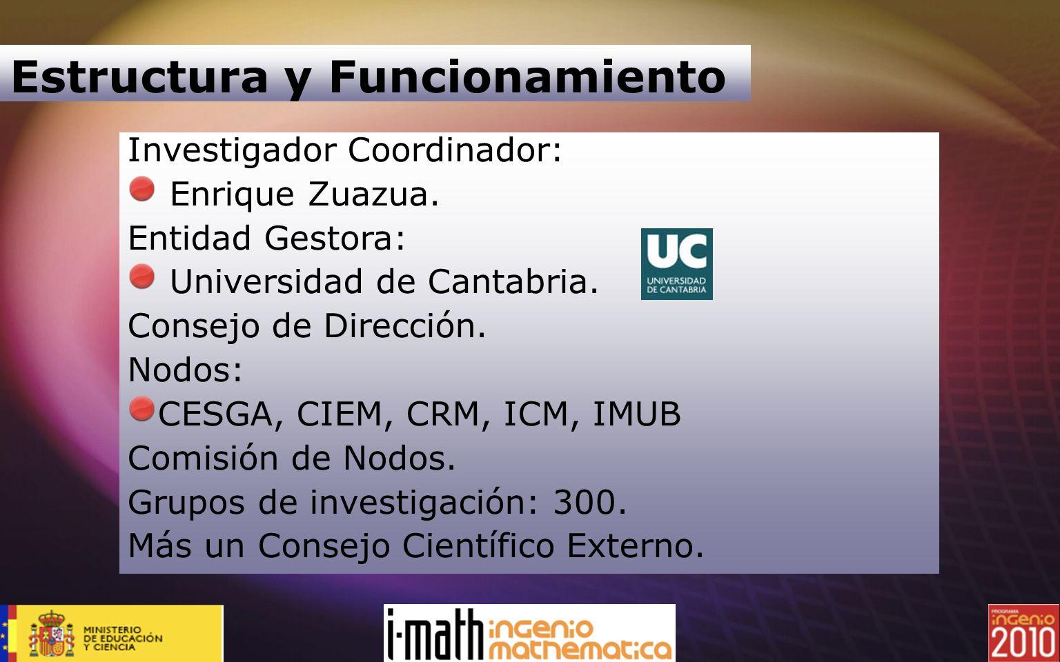 Investigador Coordinador: Enrique Zuazua. Entidad Gestora: Universidad de Cantabria. Consejo de Dirección. Nodos: CESGA, CIEM, CRM, ICM, IMUB Comisión