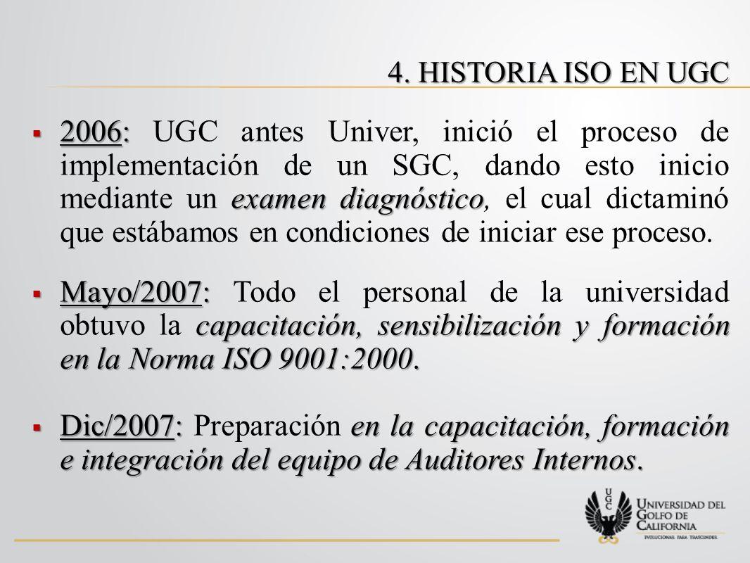 2006: examen diagnóstico 2006: UGC antes Univer, inició el proceso de implementación de un SGC, dando esto inicio mediante un examen diagnóstico, el cual dictaminó que estábamos en condiciones de iniciar ese proceso.