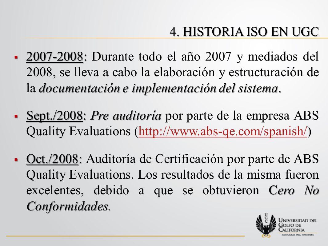 Dic./2008: Certificado de Calidad en ISO 9001:2000 Nivel Licenciatura Dic./2008: Es entregado el Certificado de Calidad en ISO 9001:2000, por la empresa ABS Quality Evaluations; el alcance de este certificado fue solamente para el Nivel Licenciatura.