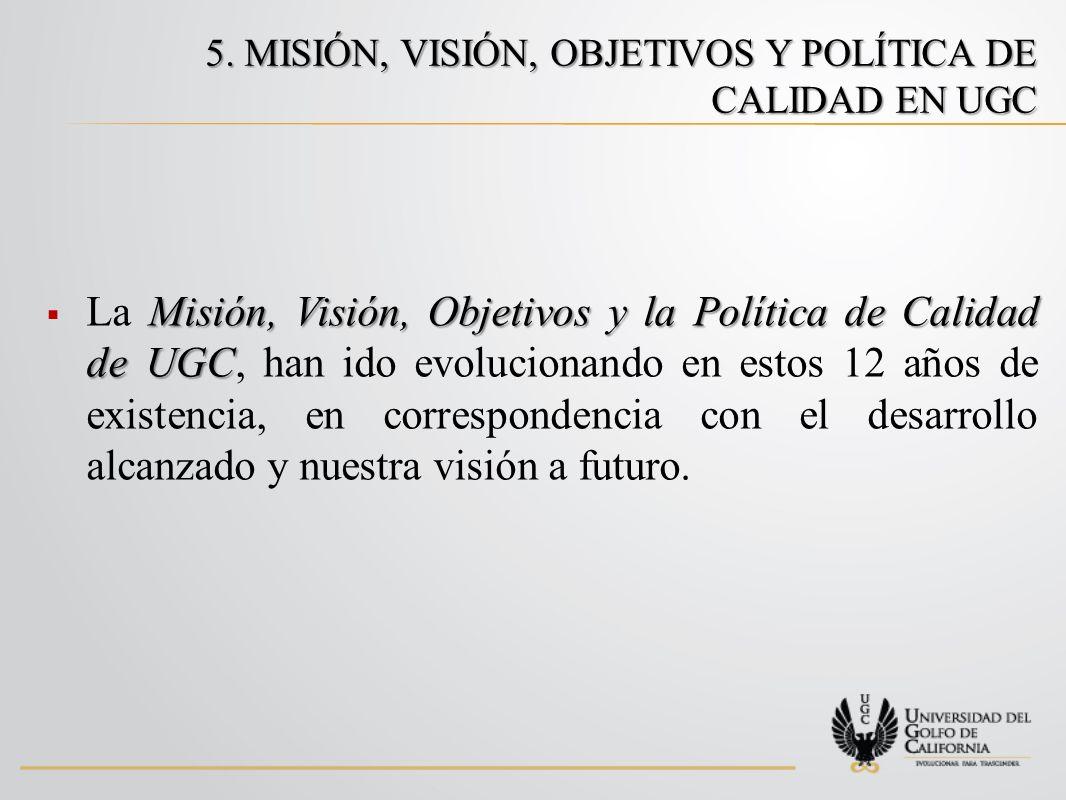 5. MISIÓN, VISIÓN, OBJETIVOS Y POLÍTICA DE CALIDAD EN UGC Misión, Visión, Objetivos y la Política de Calidad de UGC La Misión, Visión, Objetivos y la