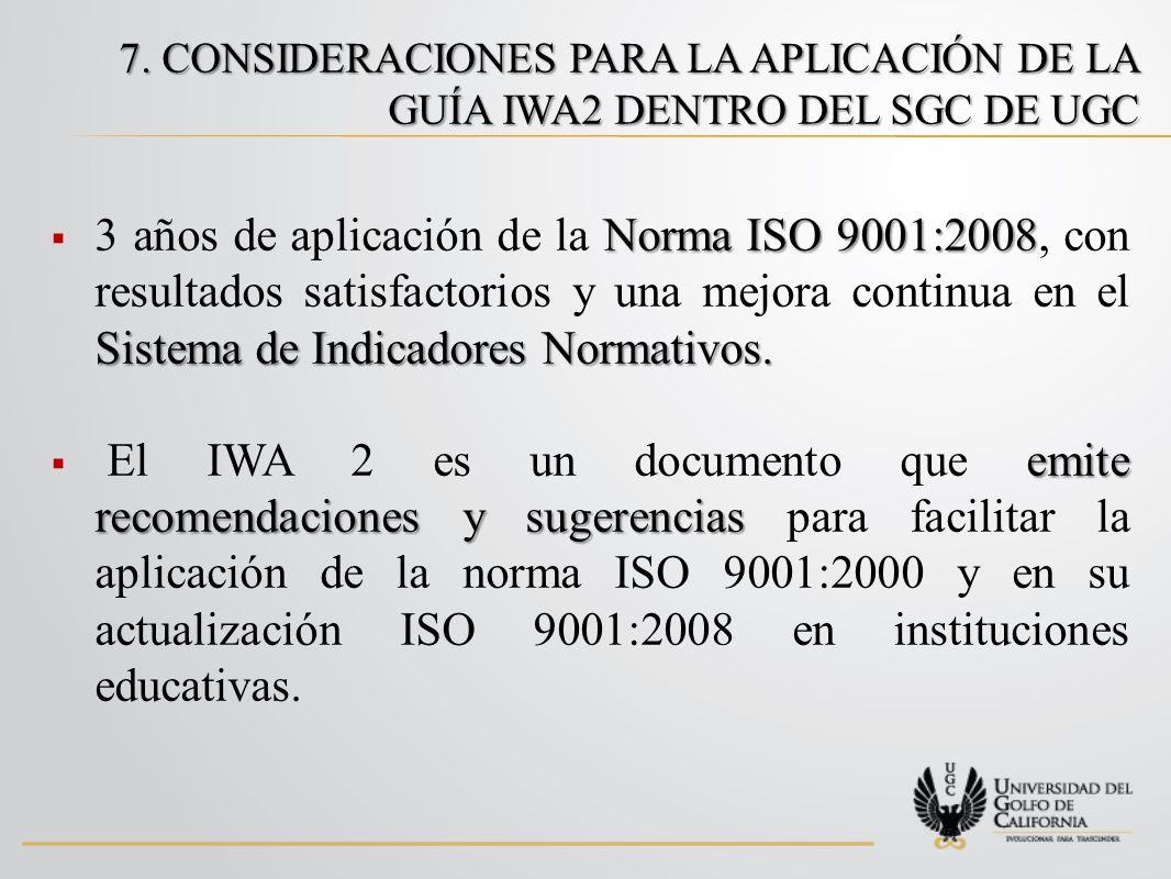 7. CONSIDERACIONES PARA LA APLICACIÓN DE LA GUÍA IWA2 DENTRO DEL SGC DE UGC Norma ISO 9001:2008 Sistema de Indicadores Normativos. 3 años de aplicació