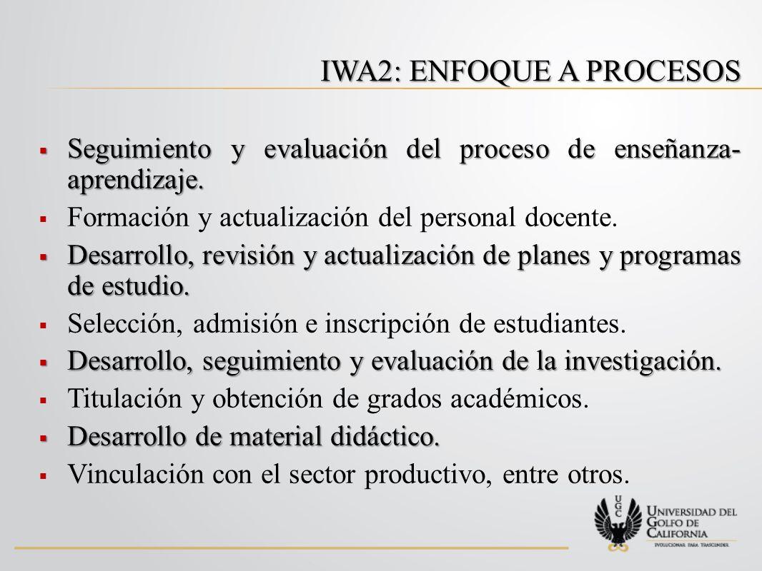 IWA2: ENFOQUE A PROCESOS Seguimiento y evaluación del proceso de enseñanza- aprendizaje.