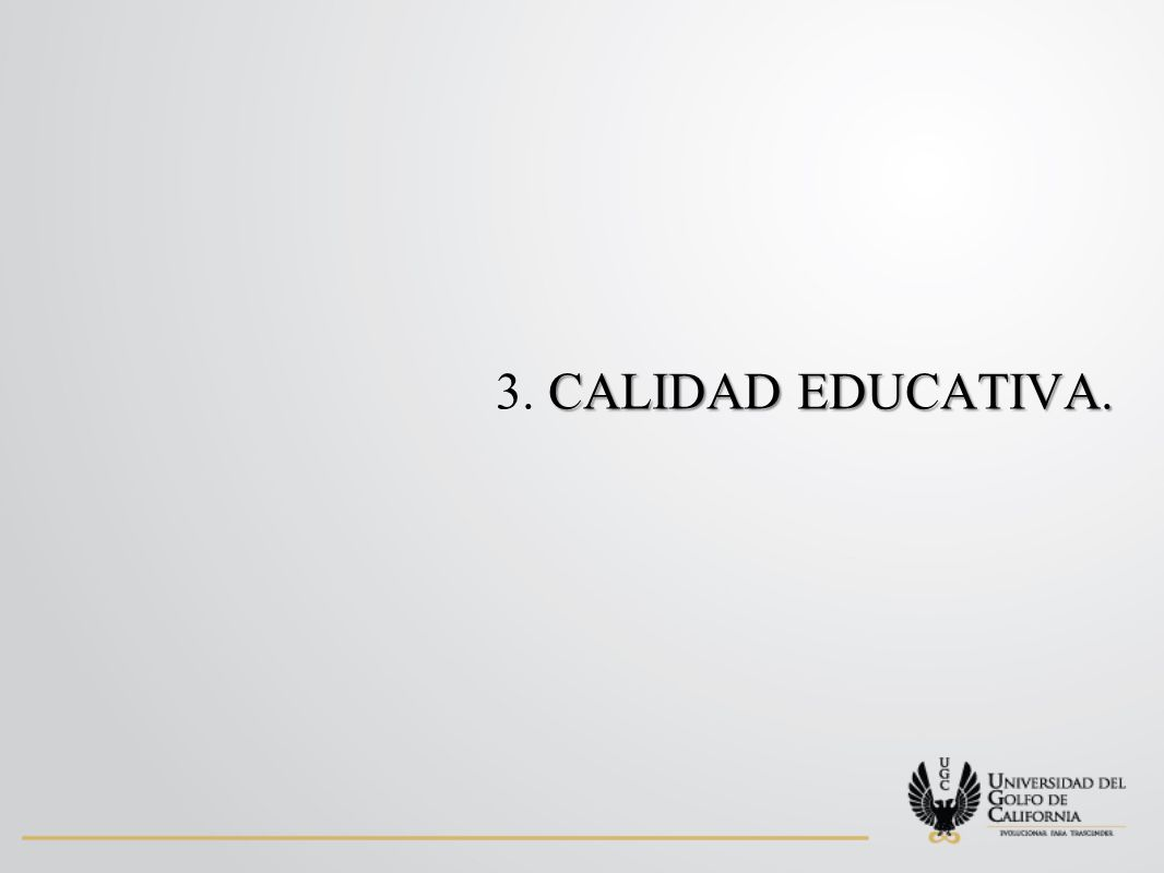 CALIDAD EDUCATIVA. 3. CALIDAD EDUCATIVA.