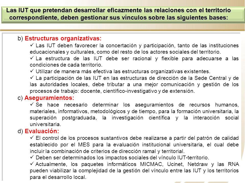 b) Estructuras organizativas: Las IUT deben favorecer la concertación y participación, tanto de las instituciones educacionales y culturales, como del