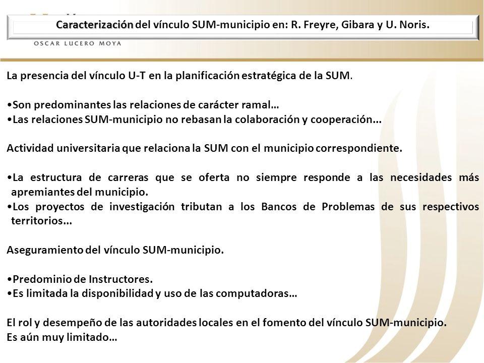 Caracterización Caracterización del vínculo SUM-municipio en: R. Freyre, Gibara y U. Noris. La presencia del vínculo U-T en la planificación estratégi
