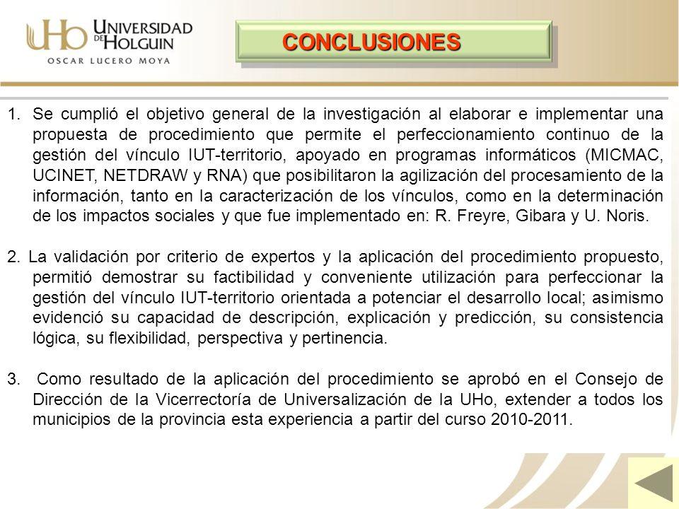 CONCLUSIONES 1.Se cumplió el objetivo general de la investigación al elaborar e implementar una propuesta de procedimiento que permite el perfeccionam