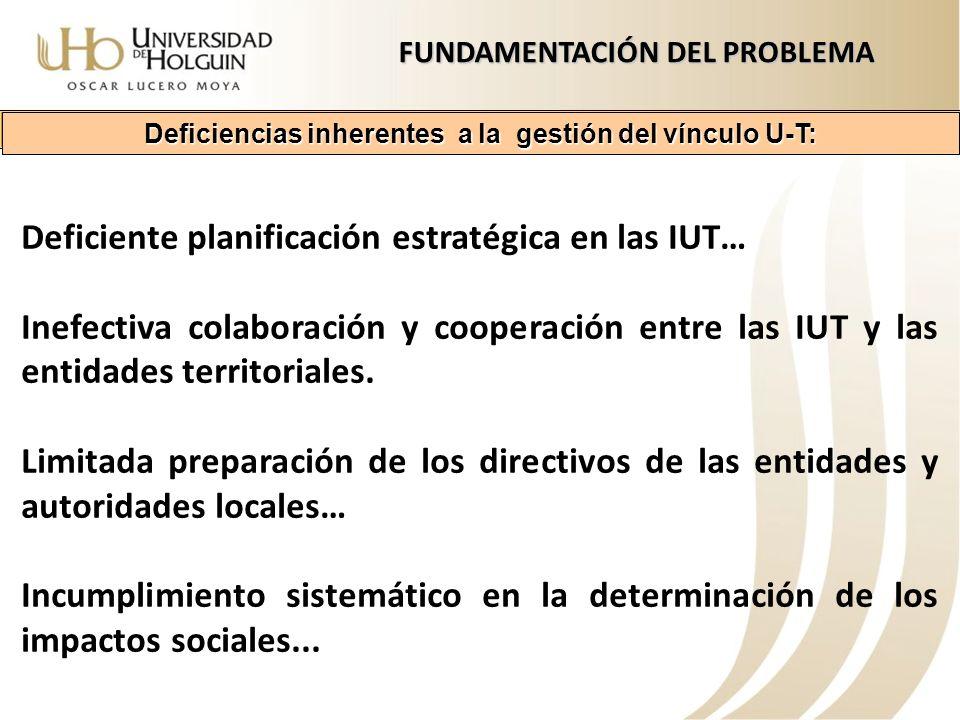 Deficiente planificación estratégica en las IUT… Inefectiva colaboración y cooperación entre las IUT y las entidades territoriales. Limitada preparaci