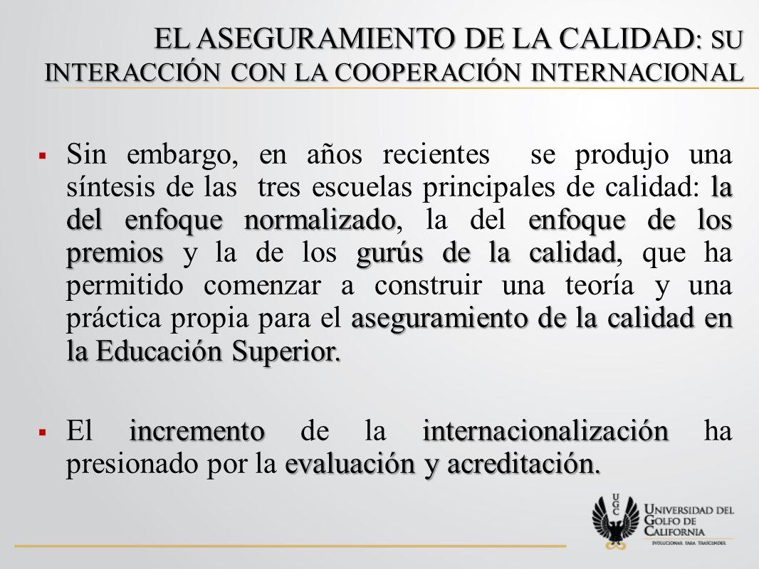 EL ASEGURAMIENTO DE LA CALIDAD : SU INTERACCIÓN CON LA COOPERACIÓN INTERNACIONAL la del enfoque normalizadoenfoque de los premiosgurús de la calidad aseguramiento de la calidad en la Educación Superior.