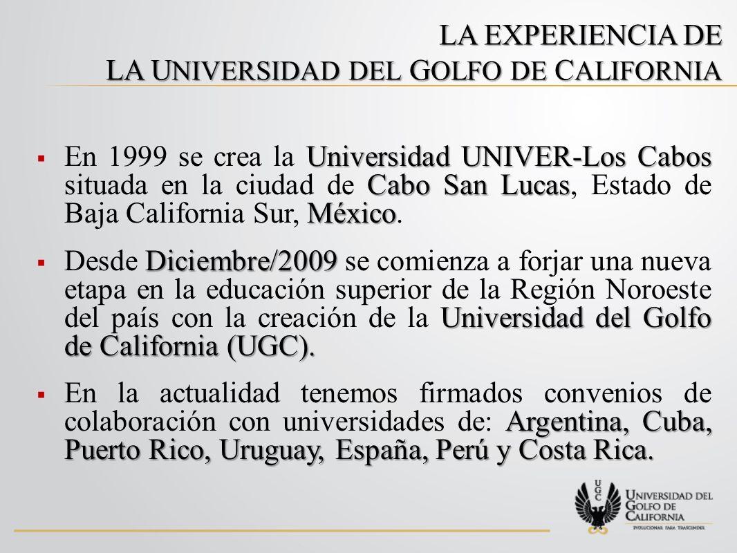 LA EXPERIENCIA DE LA U NIVERSIDAD DEL G OLFO DE C ALIFORNIA Universidad UNIVER-Los Cabos Cabo San Lucas México En 1999 se crea la Universidad UNIVER-Los Cabos situada en la ciudad de Cabo San Lucas, Estado de Baja California Sur, México.