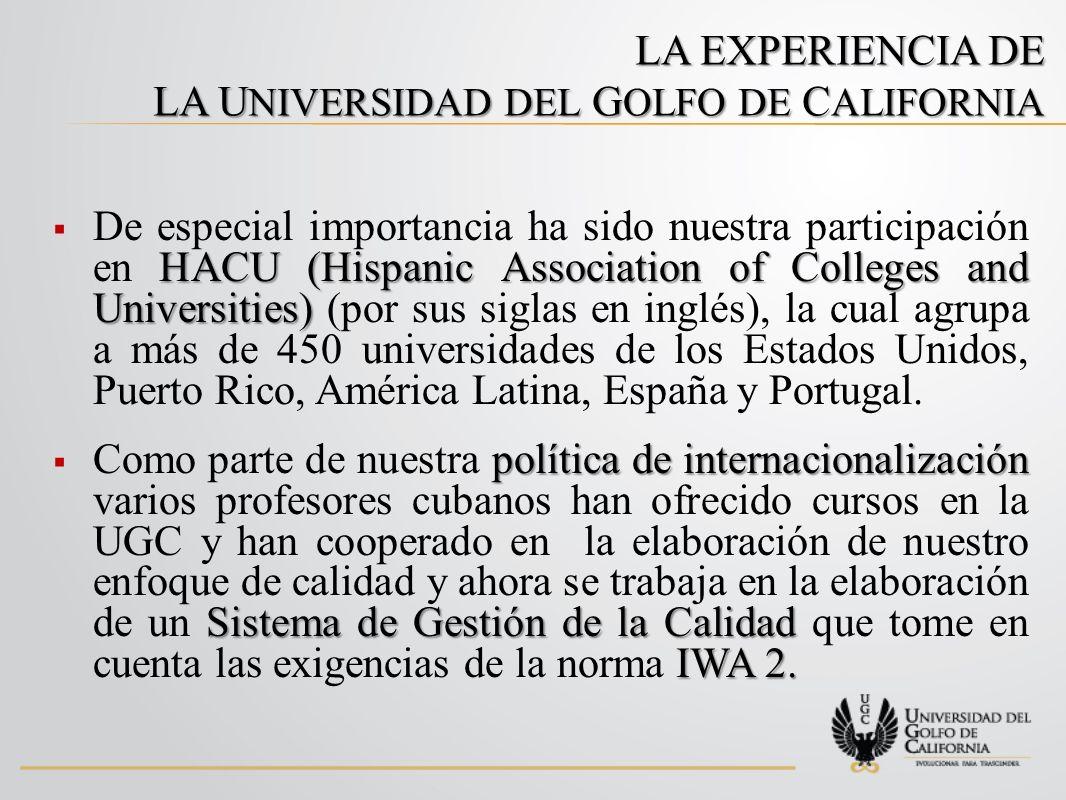 LA EXPERIENCIA DE LA U NIVERSIDAD DEL G OLFO DE C ALIFORNIA HACU (Hispanic Association of Colleges and Universities) De especial importancia ha sido nuestra participación en HACU (Hispanic Association of Colleges and Universities) (por sus siglas en inglés), la cual agrupa a más de 450 universidades de los Estados Unidos, Puerto Rico, América Latina, España y Portugal.