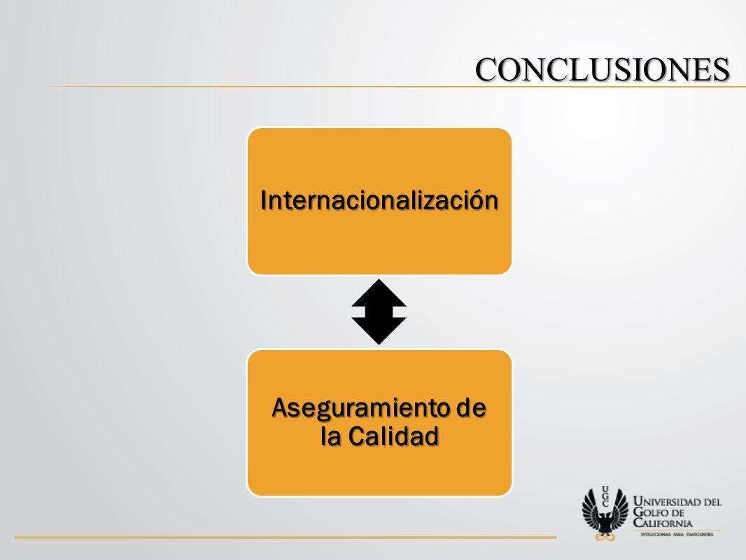 CONCLUSIONES Internacionalización Aseguramiento de la Calidad