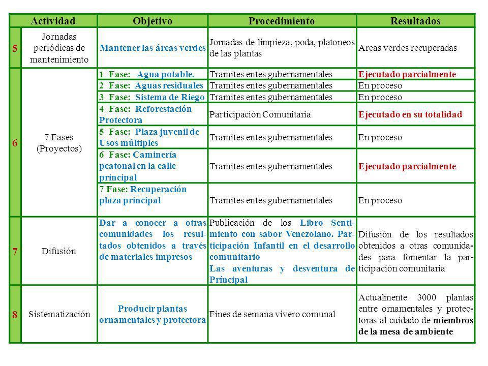 ActividadObjetivoProcedimientoResultados 5 Jornadas periódicas de mantenimiento Mantener las áreas verdes Jornadas de limpieza, poda, platoneos de las