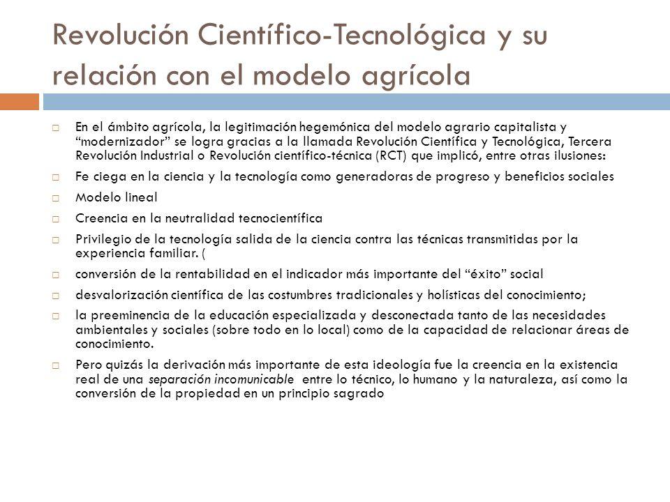 Revolución Científico-Tecnológica y su relación con el modelo agrícola En el ámbito agrícola, la legitimación hegemónica del modelo agrario capitalist