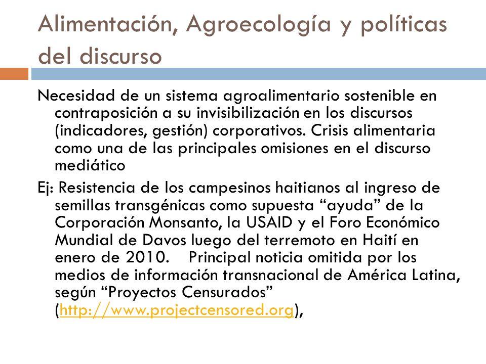Alimentación, Agroecología y políticas del discurso Necesidad de un sistema agroalimentario sostenible en contraposición a su invisibilización en los