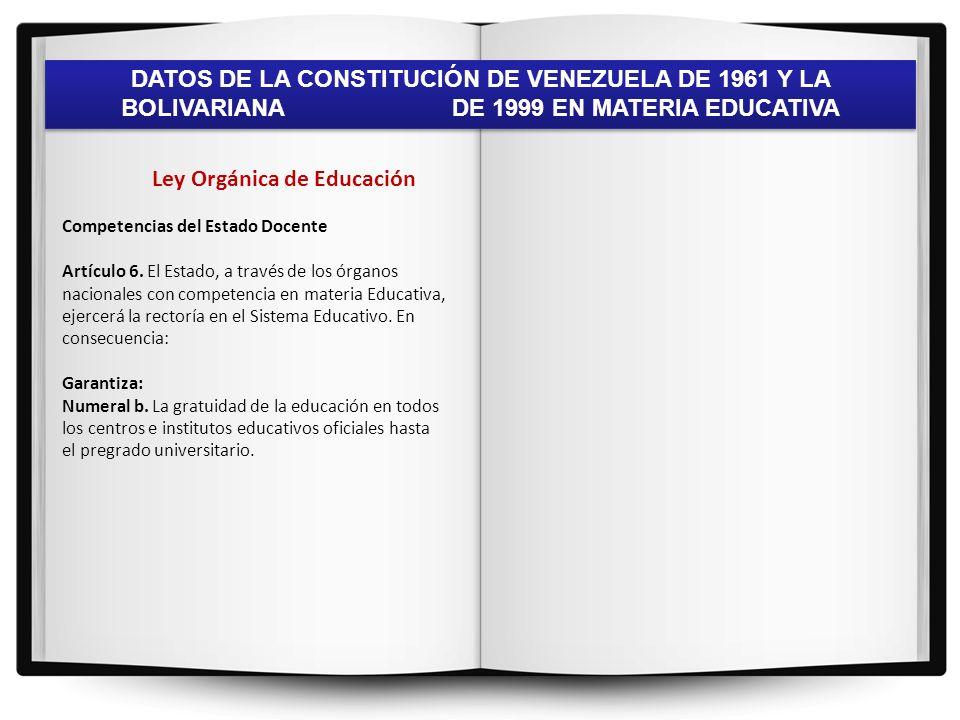 DATOS DE LA CONSTITUCIÓN DE VENEZUELA DE 1961 Y LA BOLIVARIANA DE 1999 EN MATERIA EDUCATIVA TEMA: AUTONOMÍA Constitución de 1961 La Constitución de 1961 no habla de la Autonomía en vista de que ésta no fue consagrada sino hasta el año 1999, por la Revolución Bolivariana.