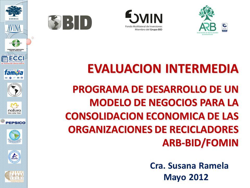 EVALUACION INTERMEDIA PROGRAMA DE DESARROLLO DE UN MODELO DE NEGOCIOS PARA LA CONSOLIDACION ECONOMICA DE LAS ORGANIZACIONES DE RECICLADORES ARB-BID/FOMIN Cra.