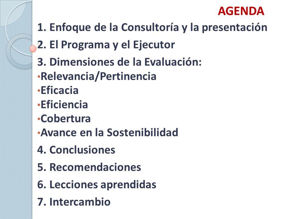 AGENDA 1.Enfoque de la Consultoría y la presentación 2.