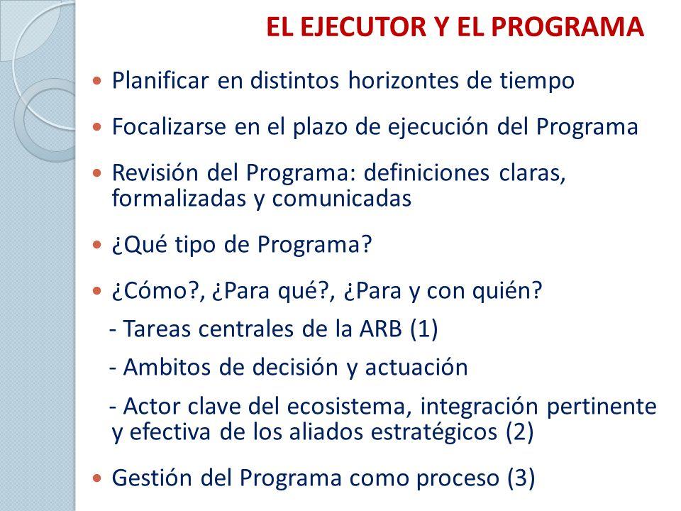 EL EJECUTOR Y EL PROGRAMA Planificar en distintos horizontes de tiempo Focalizarse en el plazo de ejecución del Programa Revisión del Programa: definiciones claras, formalizadas y comunicadas ¿Qué tipo de Programa.